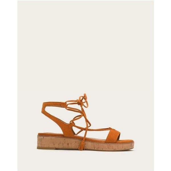 Frye Miranda Gladiator ($228) ❤ liked on Polyvore featuring shoes, sandals, orange, lace-up gladiator sandals, frye sandals, gladiator sandals, leather lace up sandals and orange shoes
