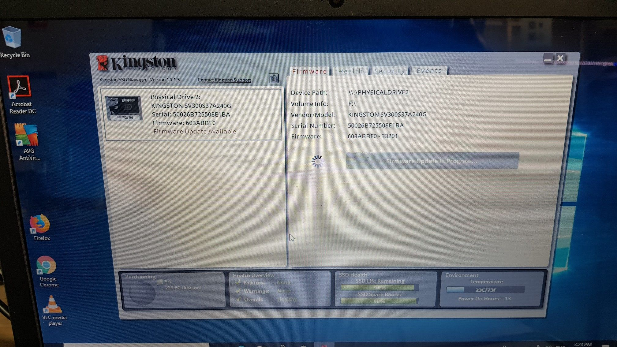 Updating firmware on Kingston SSD or any SSD can be dangerous task