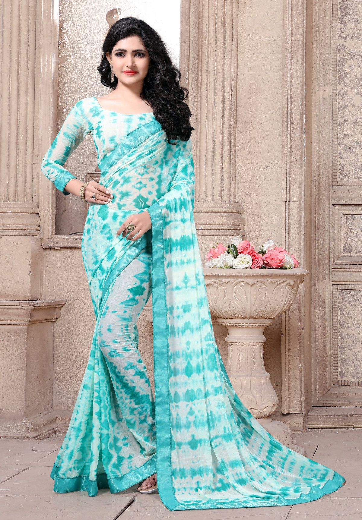 974d07b1714cab Buy Craftsvilla White And Turquoise Color Georgette Hand Painted Designer  Saree With Unstitched Blouse Material online. ✯ 100% authentic products, ✯  Hand ...
