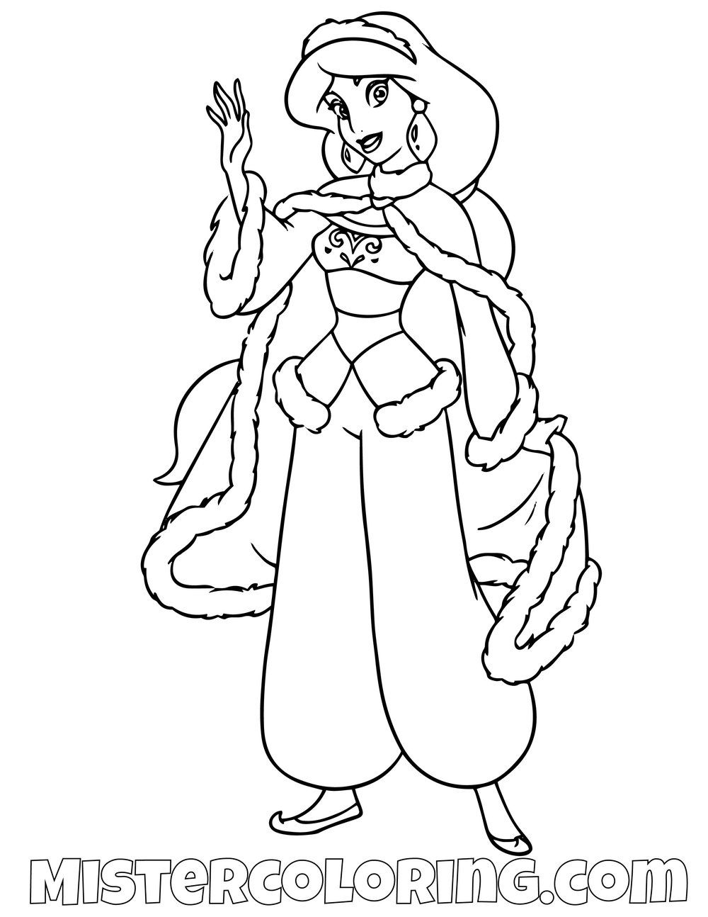 Princess Jasmine With Winter Sweater Aladdin Coloring Page For