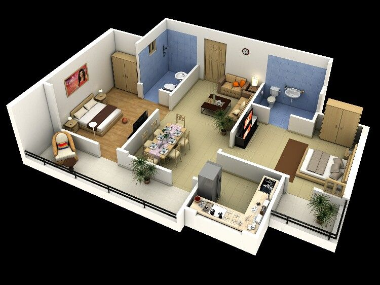 2 Bedrooms With Images Bedroom House Plans Floor Plan Design Apartment Plans