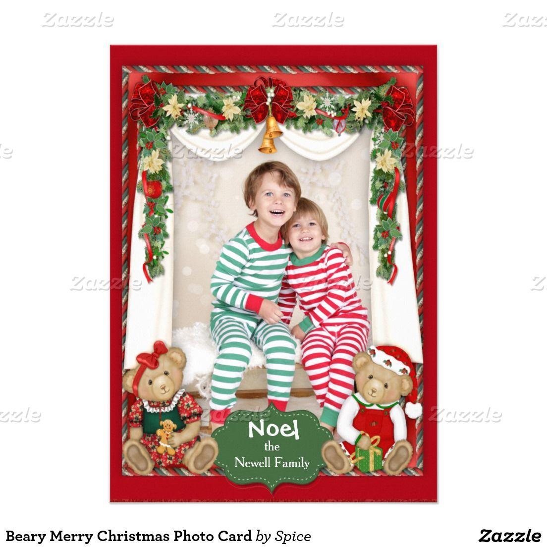 Beary merry christmas photo card merry