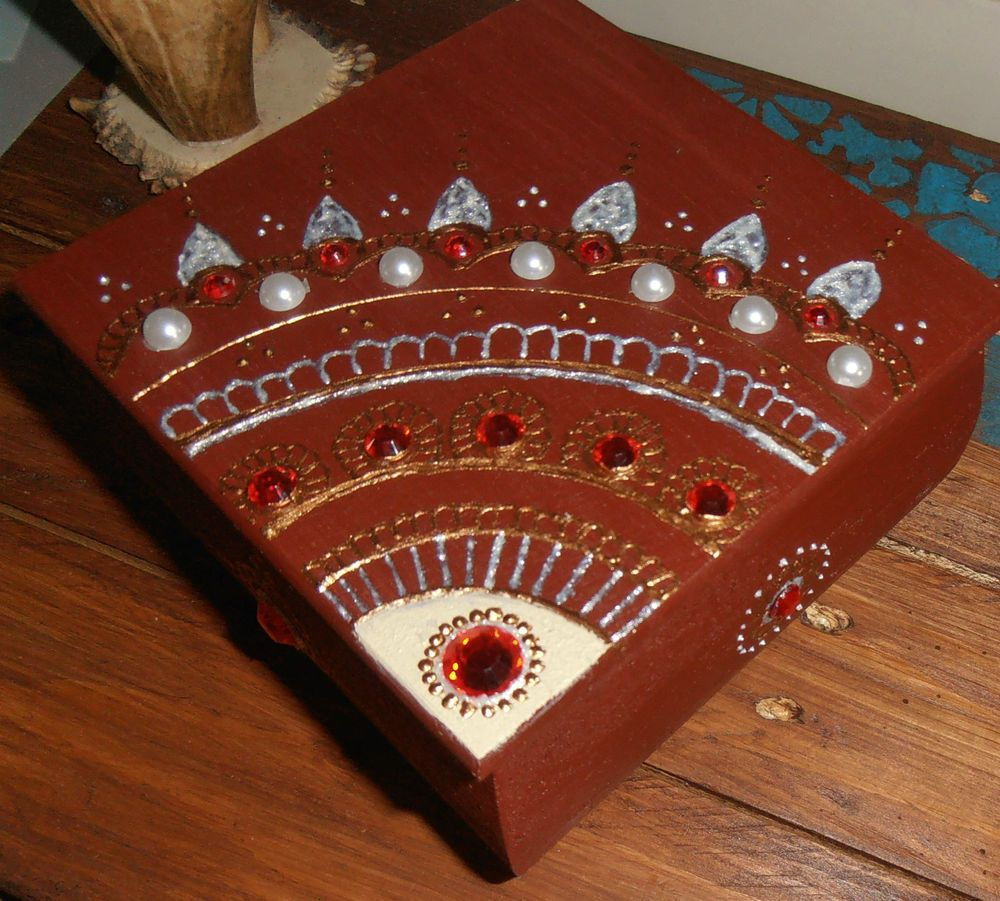 Unique Handmade Jewelry Box Wooden Gift Henna Art Painting ...