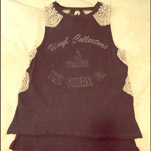 Free People Tank Heavy, oversized cotton tank with lace detail, super comfy! Free People Tops Tank Tops