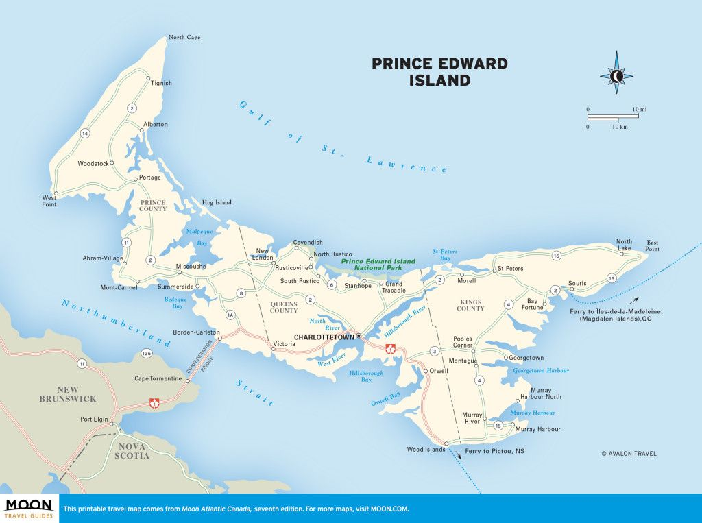 P E I Canada Map Atlantic Canada | Atlantic canada, Travel maps, Prince edward island