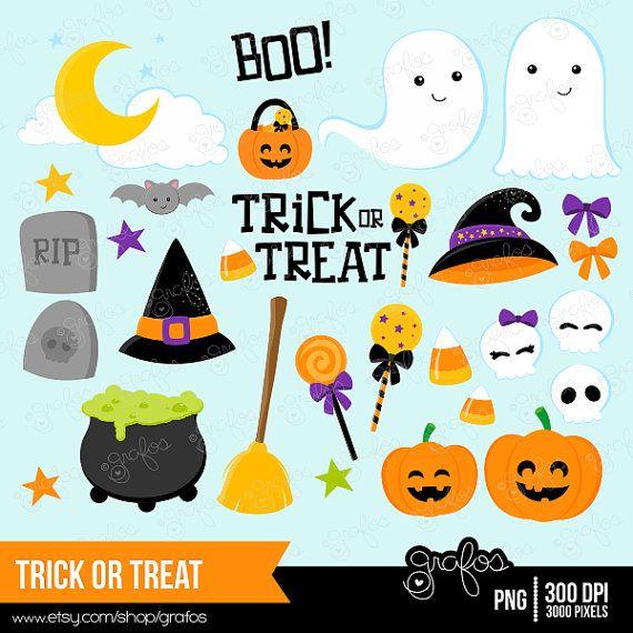 Trick Or Treat Digital Clipart Halloween Clipart Trick Or Treat Clipart Instant Download Halloween Clipart Halloween Scrapbook Clip Art