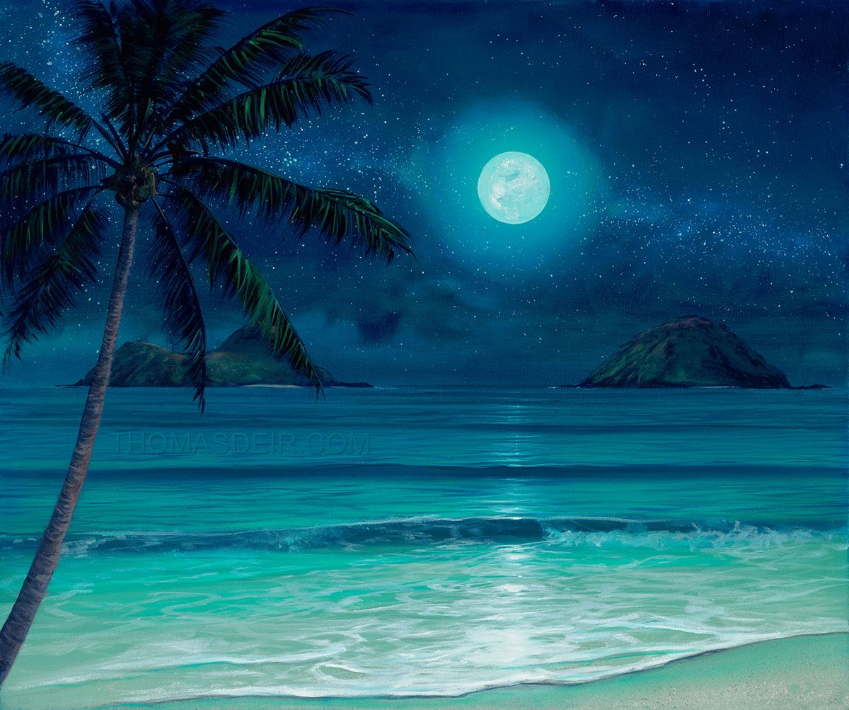 Tropical Artwork Tropical Beach Scenes Night Tropical Beach Paintings