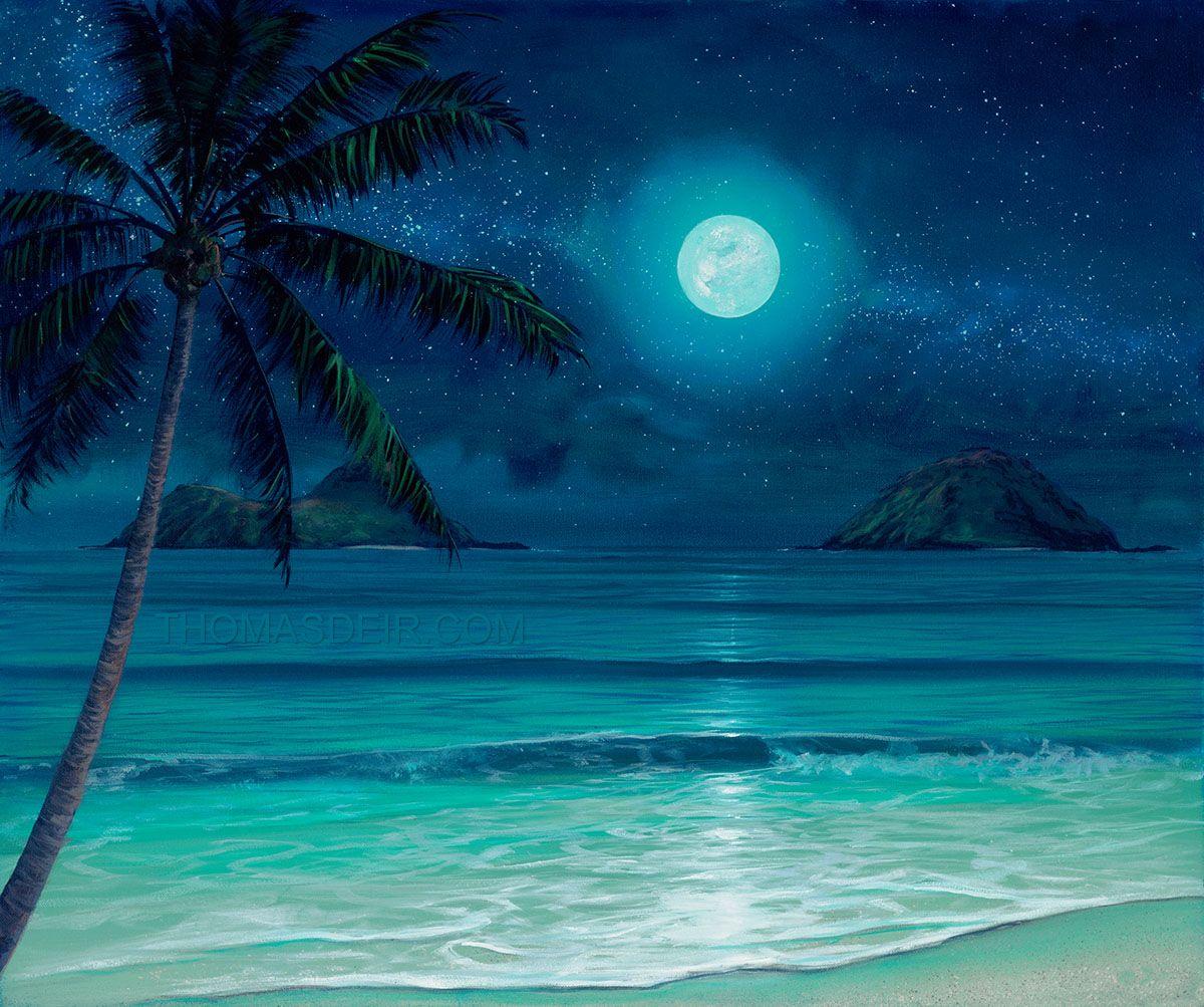 Island Beach Scenes: Mokulua Milky Way Beach Painting