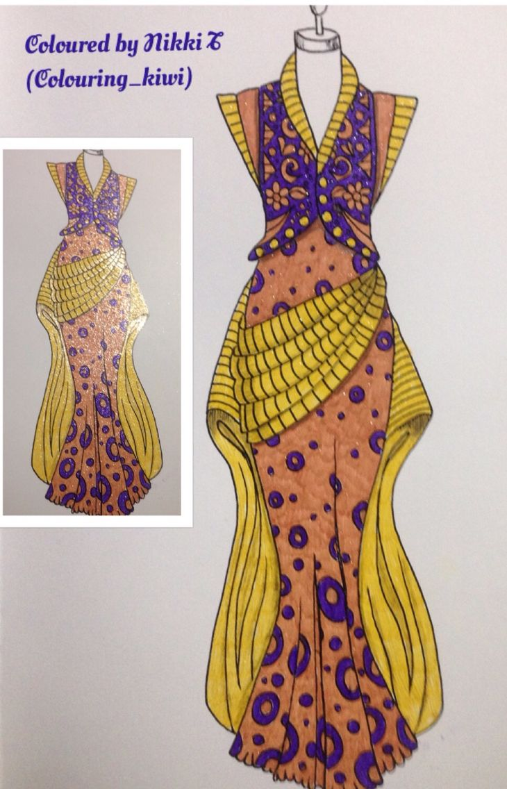 From Collette Fergus The Dress Colouring Book Done With Glitter Gel Pens Glitter Gel Gel Pens Coloring Books