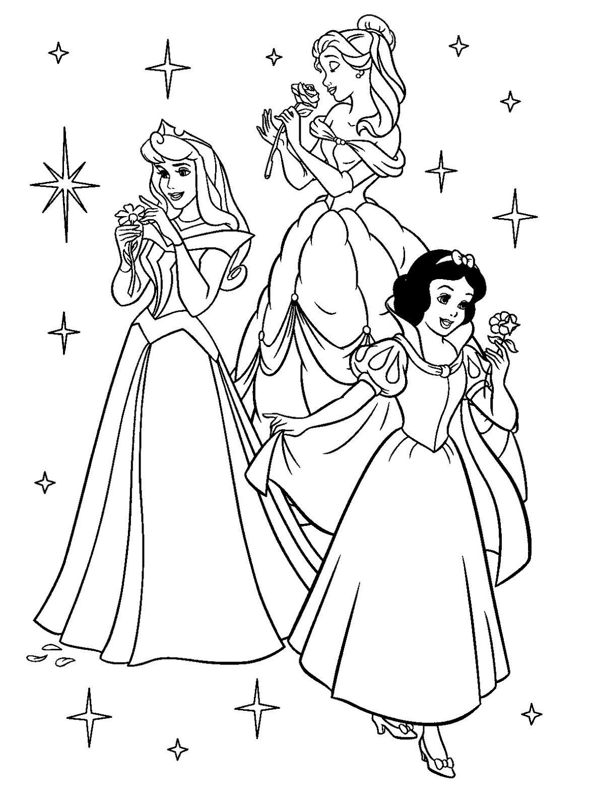 imagenes de princesas disney para colorear  Princesas Colorear