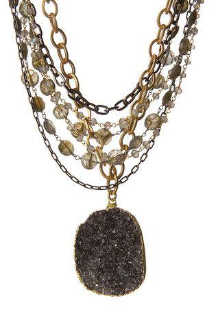 Free Form Druzy  Multi-Strand Statement Necklace Bead beautiful - statement form