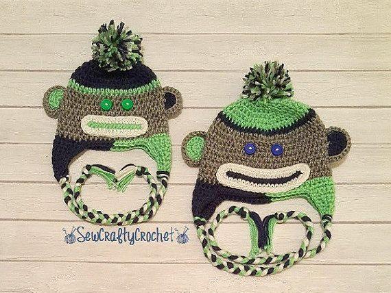 Crochet Seahawks Sock Monkey Hat by SewCraftyCrochetShop on Etsy
