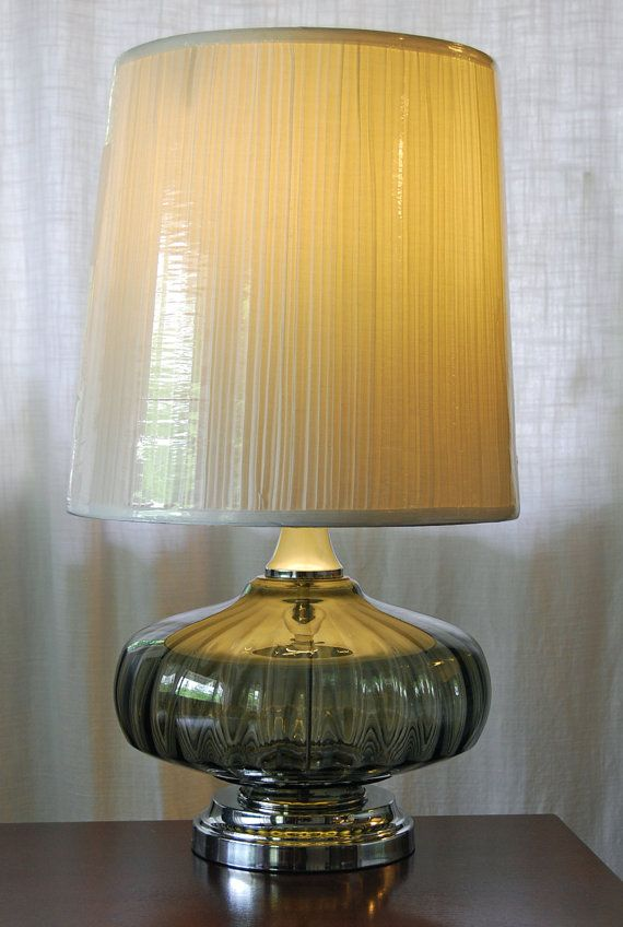 Cordless Vintage Retro Fluted Gray Glass Table Lamp Glass Table Lamp Lamp Lamp Cord