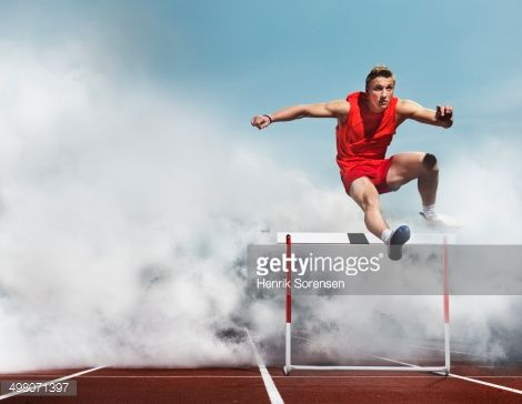 Male Athlete Passing The Hurdle In White Smoke Sport Photography Sports Photos Sports