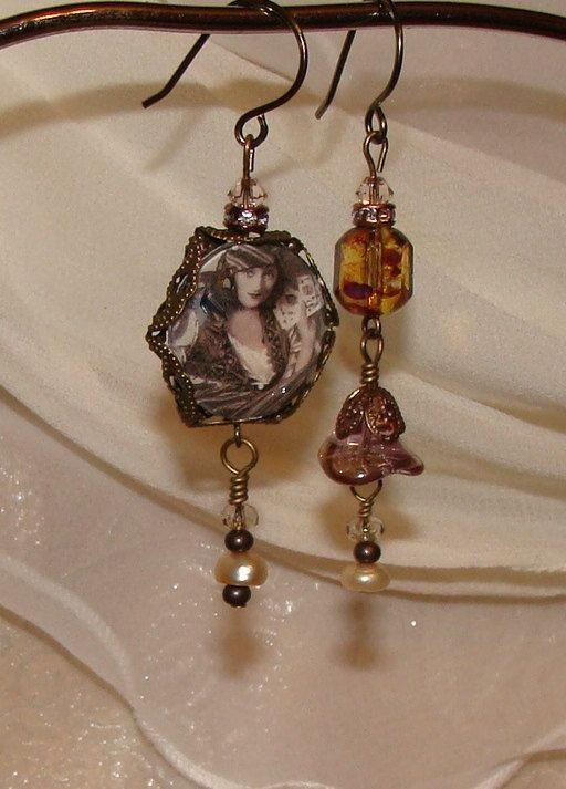 Gypsy Fortune Teller asymmetrical earrings by imagebeadjewelry