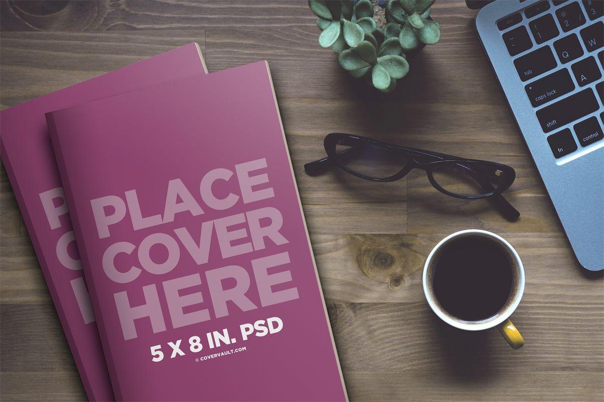 5 x 8 Desktop Stacked Paperback Book Mockup Covervault