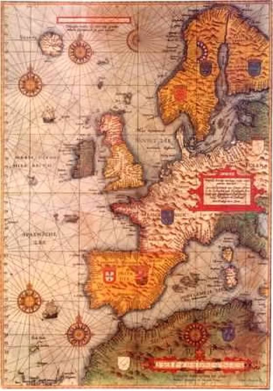 This is an old European map. Europe is where the ...