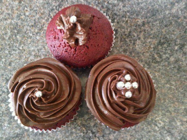 Red velvet with chocolate frosting