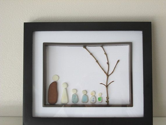 Family of Six Tree Ceramic Pottery Art by sourisbytheseaglass