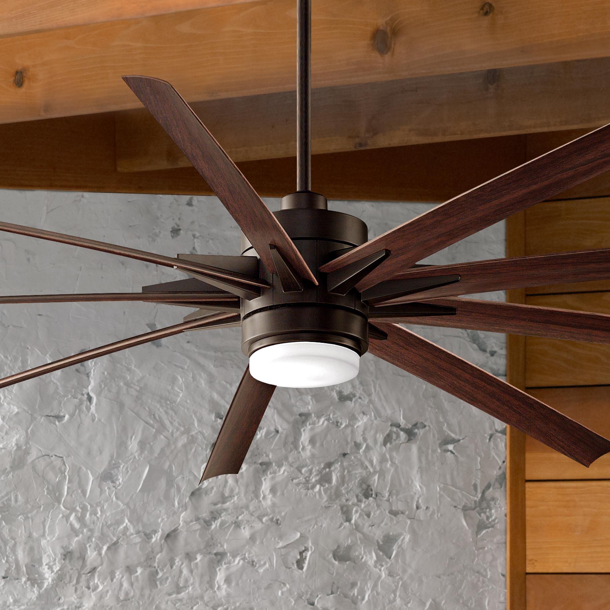 """84"""" Odyn Dark Bronze Dark Walnut LED Outdoor Ceiling Fan"""
