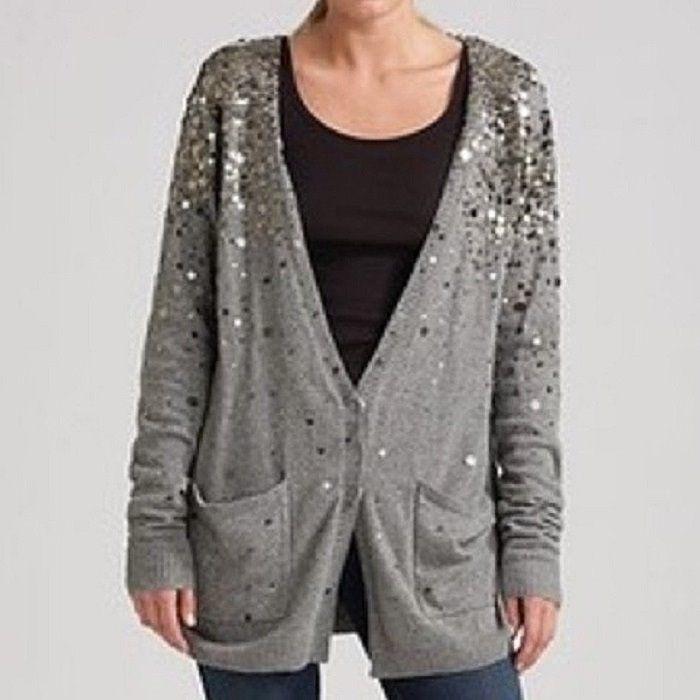 8a455a6855db LA ROK Gray Metal Paillette Sequin Embellished Cotton Cashmere ...