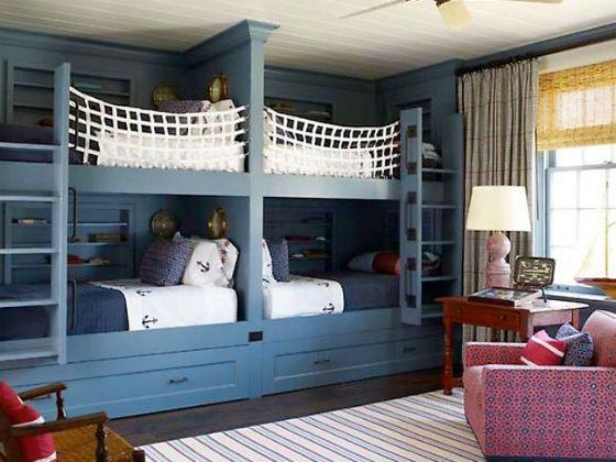 An Amazing Way To Sleep 4 To One Room Custom Bunk Beds Bunk Beds Built In Bunk Bed Rooms Built In Bunks