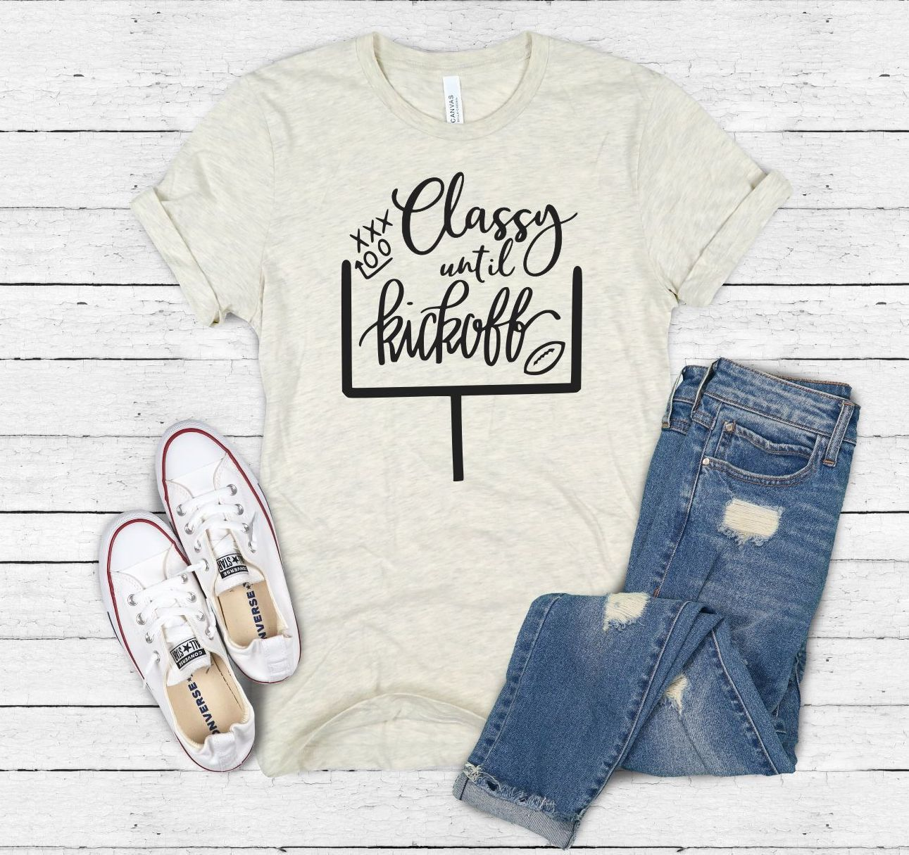 Classy Until Kickoff Shirt, HANDLETTERED, Football Mom