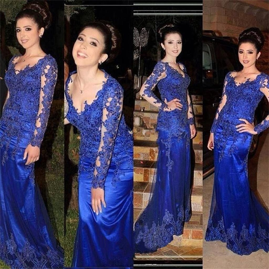 Royal blue long sleeves lace appliques formal prom dress evening