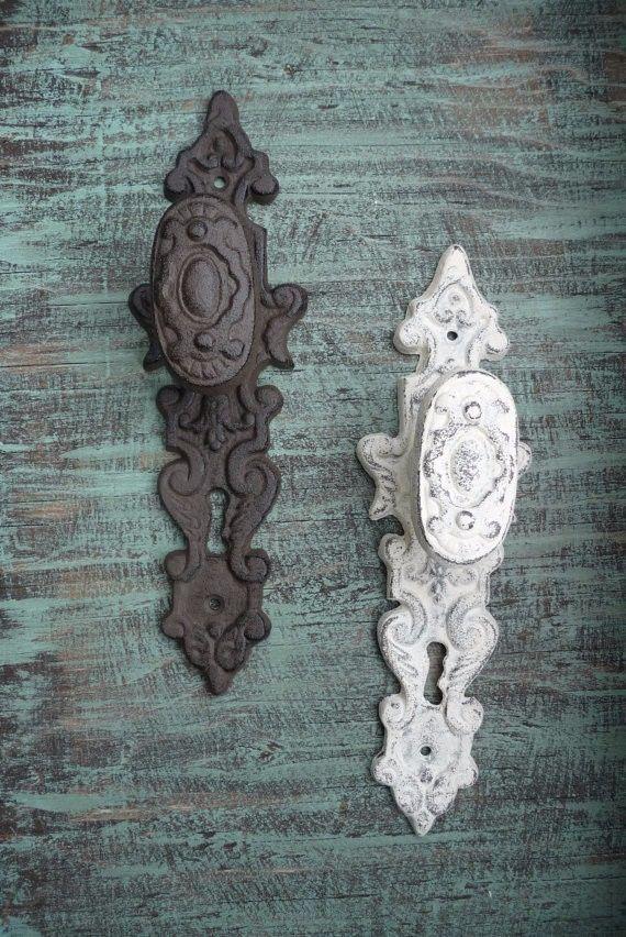 Heavy Cast Iron Door Pull Handle Knob Antique Finish Ornate Victorian Rustic  #rusticpullhandlecastironhandleornate 1 Knob Set A Black One Please