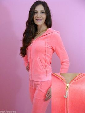 637c545c5d8 Juicy Couture J Bling Hoodie Velour Track Pocket Pants Tracksuit Pink Candy  Track