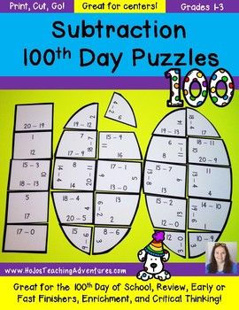 SUBTRACTION 100th Day of School Math Centers, Games ...