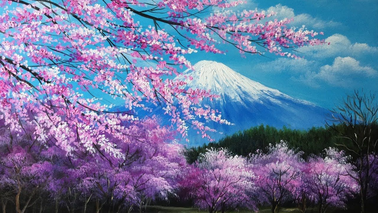 Pin By Nelsonharris On Art Lessons Cherry Blossom Painting Cherry Blossom Art Nature Art Painting