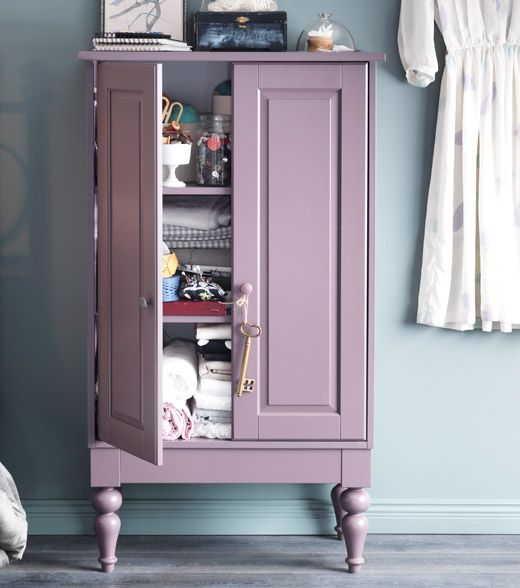 I Am Kind Of In Love With This, Just Wish It Came In Different Colors.  ISALA Cabinet In Lilac With Adjustable Shelves