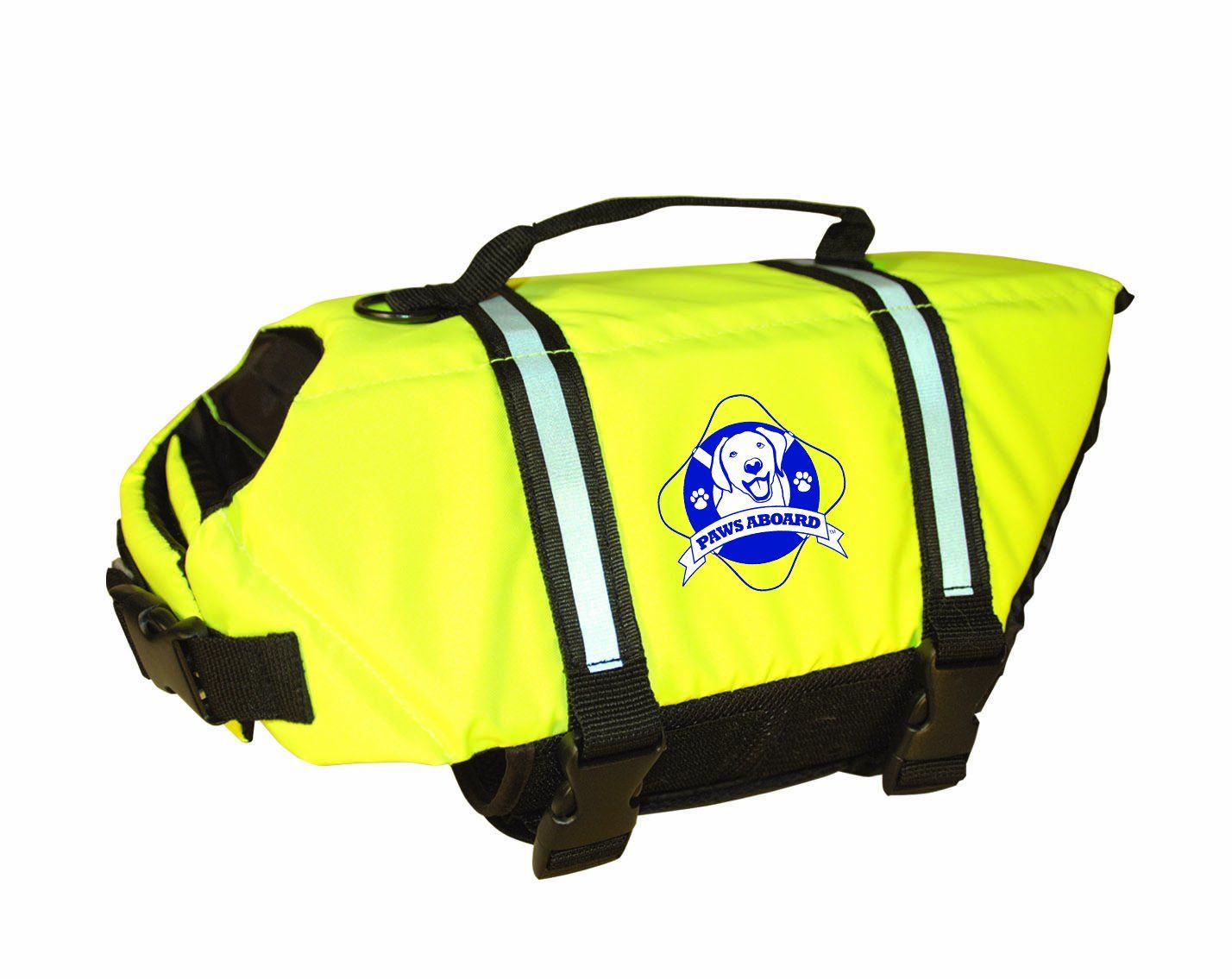 Paws Aboard Medium Designer Doggy Life Jacket, Neon Yellow