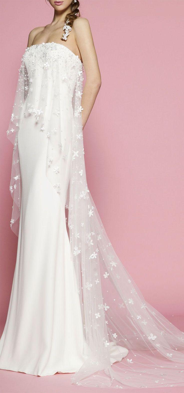strapless and asymmetrical tulle overlay sheath wedding dress ...