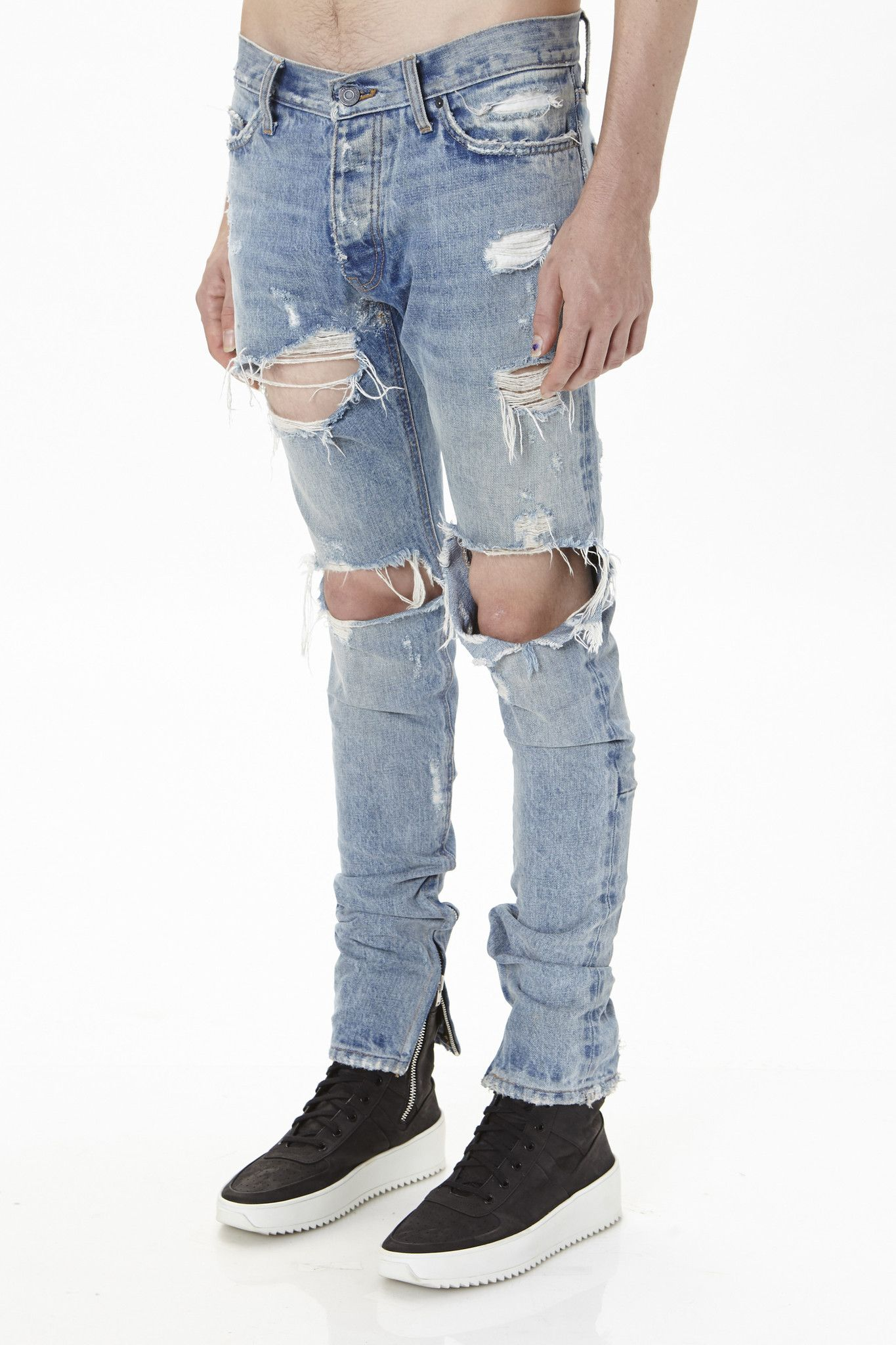 Alion Mens Classic Zipper Ripped Holes Destroyed Skinny Jeans Pants
