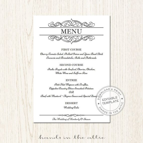 Elegant wedding menu template, editable wedding menu card, printable - dinner menu templates free