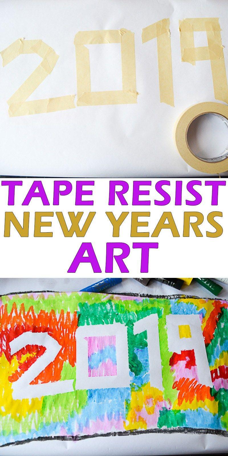 Tape Resist New Years Art New year art, Toddler art