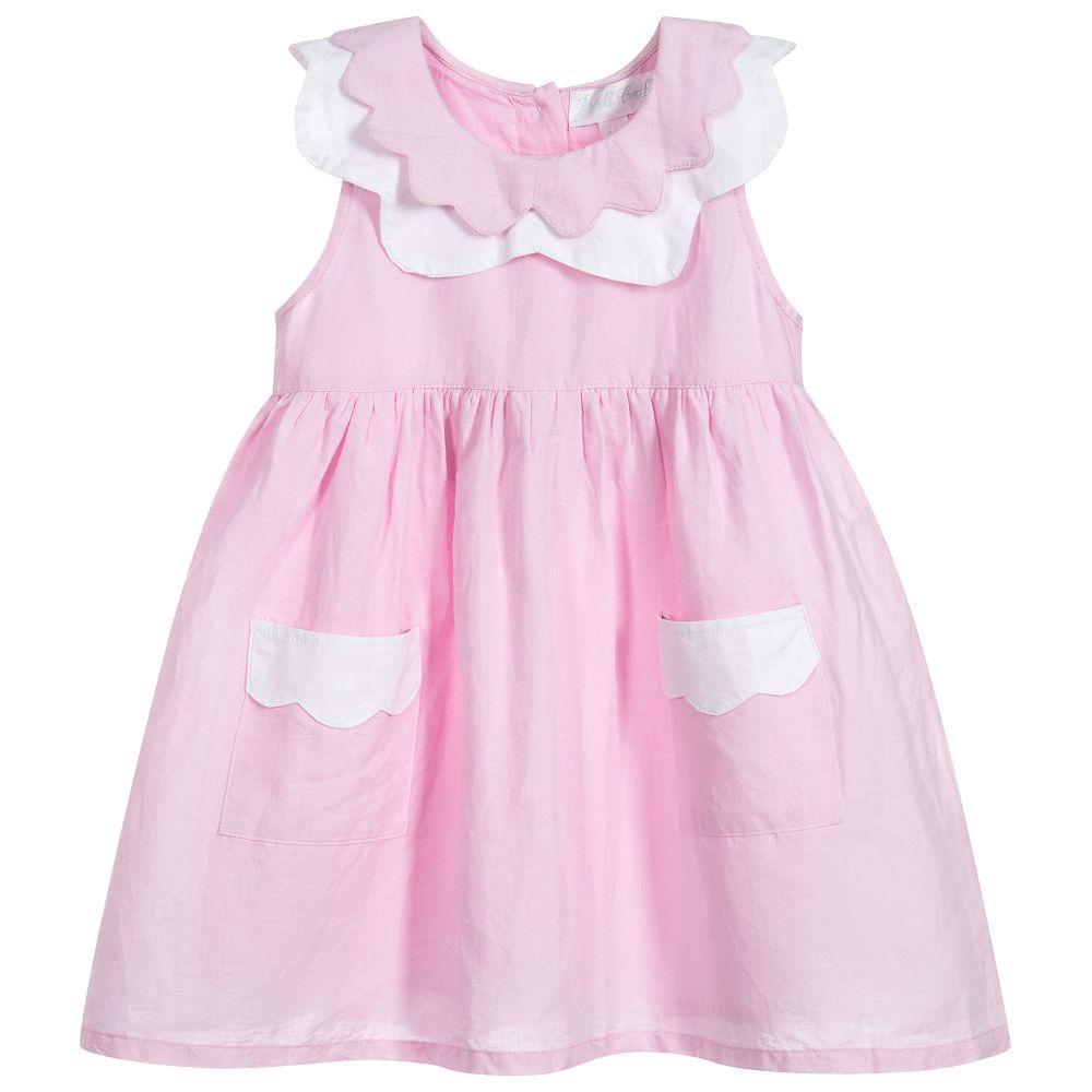 81361f6c2 Pink Linen   Cotton Dress