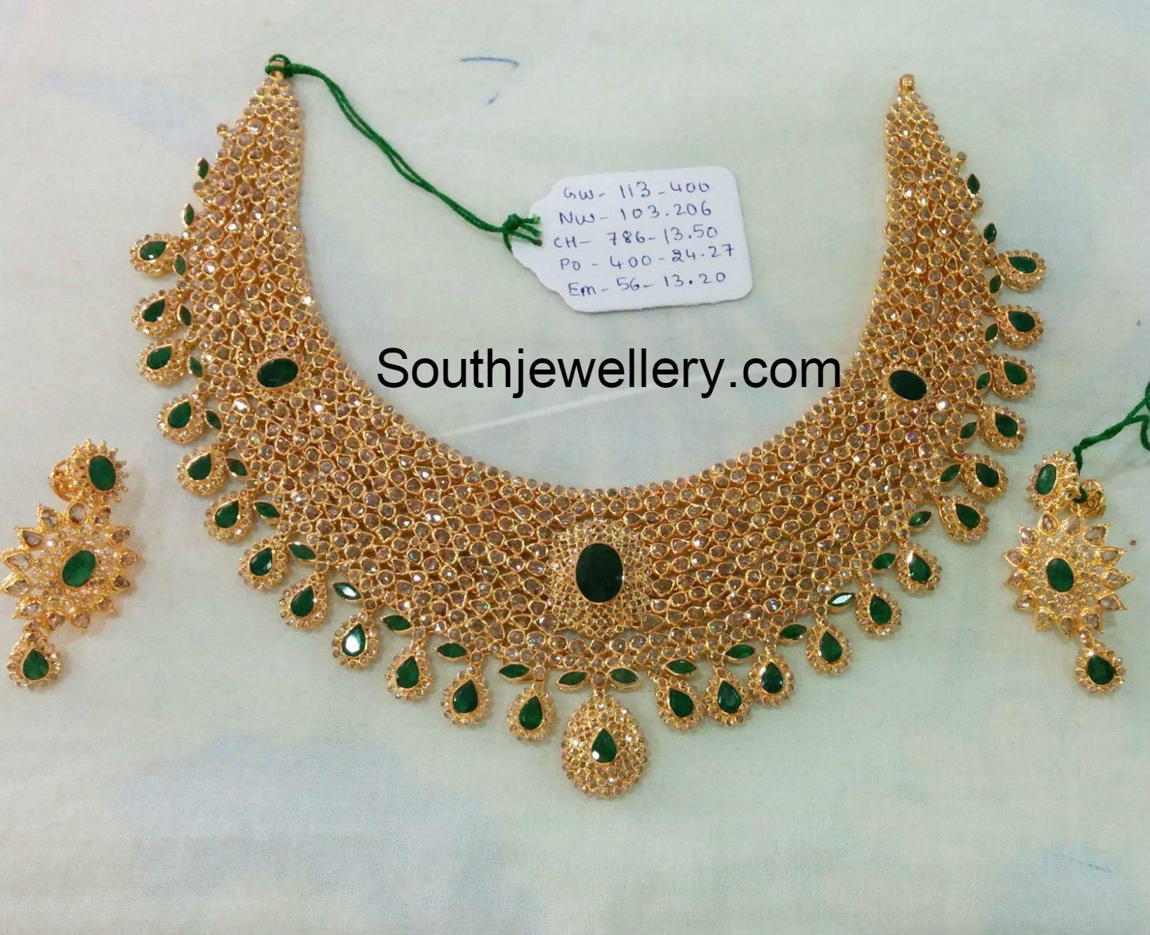 Uncut diamond necklace set ruby pinterest diamond necklace set