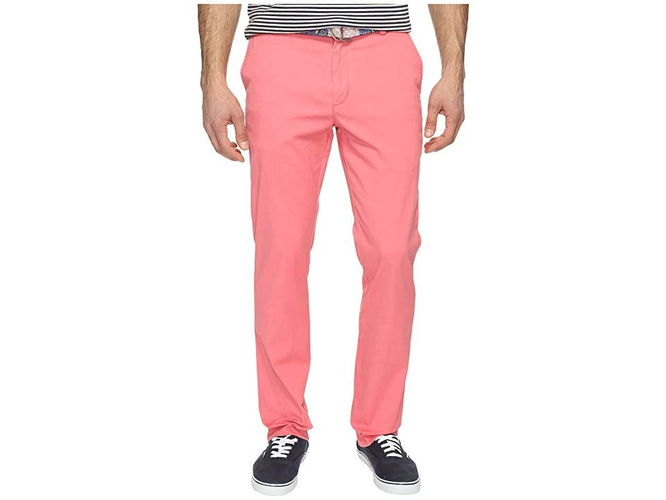 Vineyard Vines Breaker Pants (Lobster Reef) Men's Casual Pants. Everyday style ebbs and flows with the seasons  but the tide's always right with the composed cool of the vineyard vines Breaker Pant. Breaker-fit pant sets the standard for comfort with slight narrowing through the straight leg for a tailored finish. Lightweight  durable twill with added stretch for performance and easy mobility. Unique garment-washed fabrication