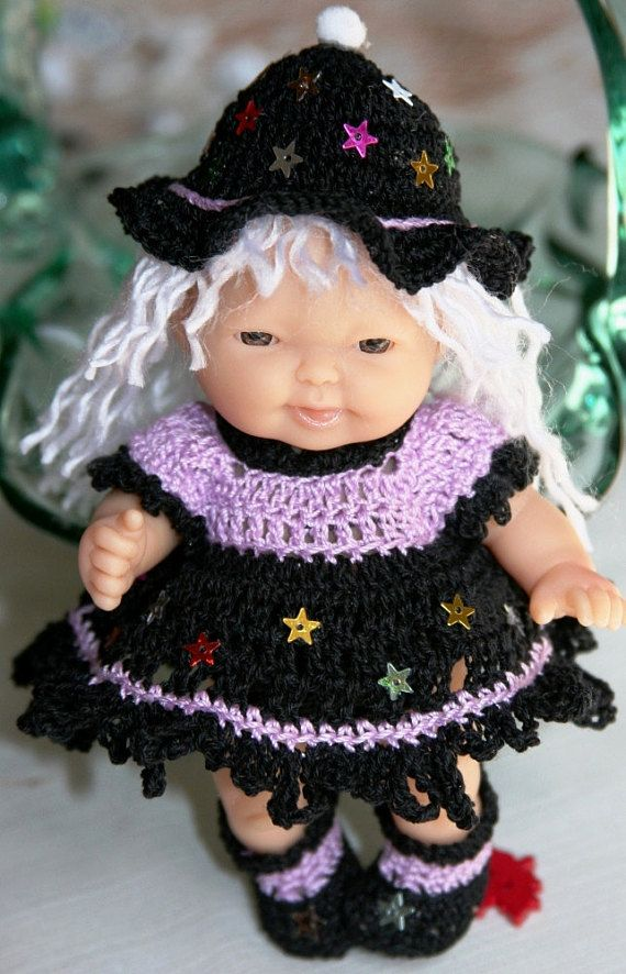 PDF PATTERN Crochet 5 inch Berenguer Baby Doll Halloween Witch with Stars  Dress Hat c662f2cfdd5