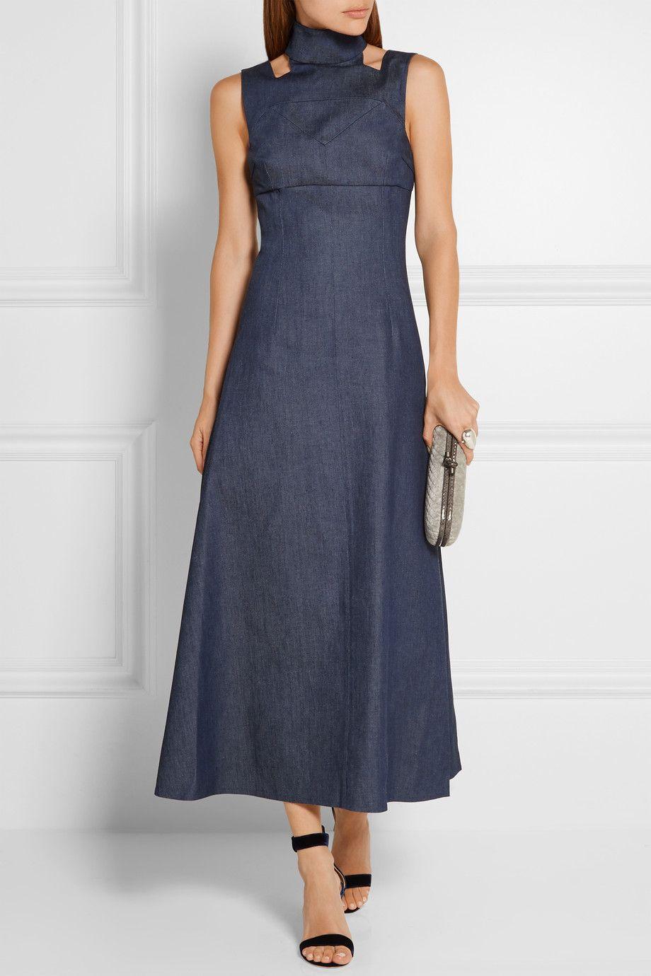 emilia wickstead robe longue en jean d coupes mary. Black Bedroom Furniture Sets. Home Design Ideas