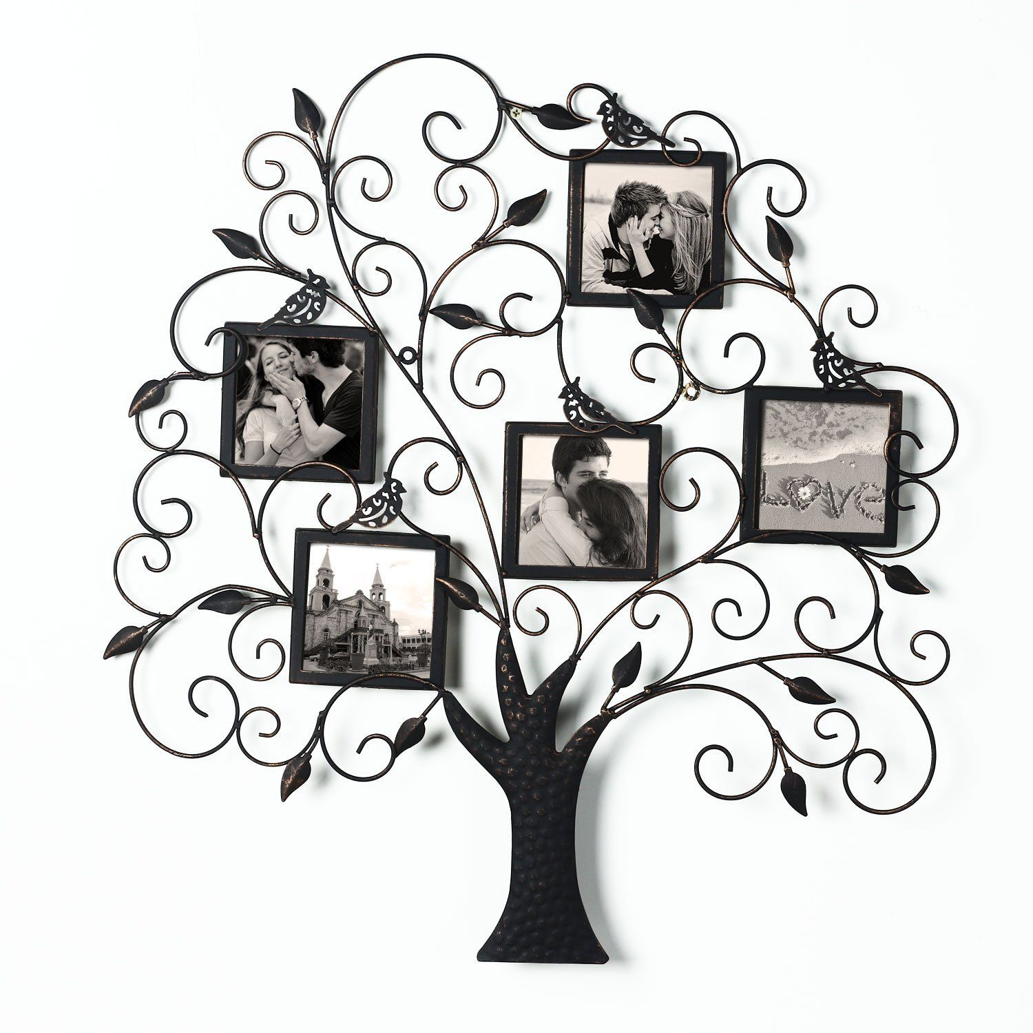 Adeco brown black decorative tree style collage bronze iron metal adeco brown black decorative tree style collage iron metal wall family tree scroll haning picture photo frame 5 opening each details can be found by jeuxipadfo Images
