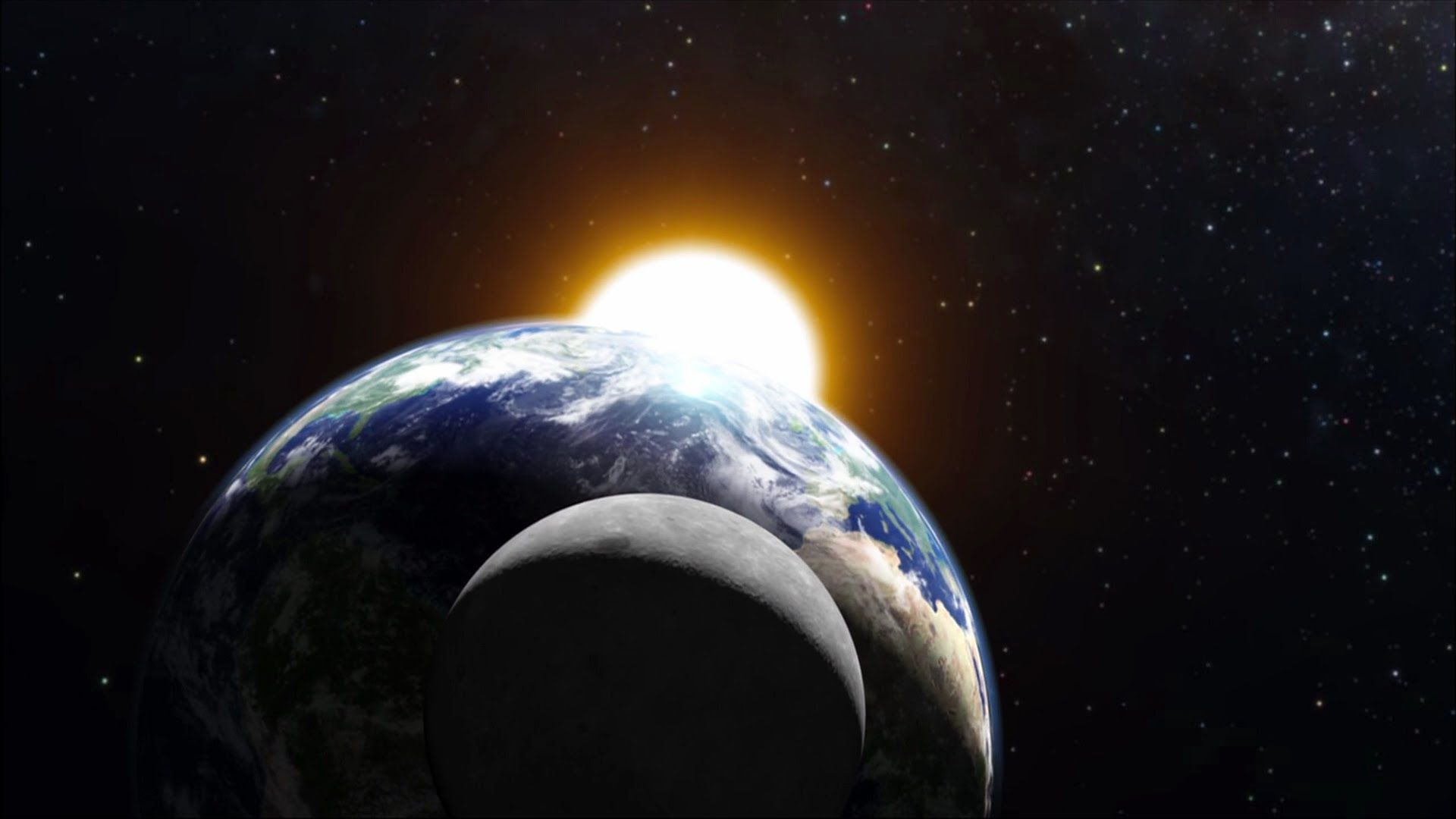 What is the relationship between the earth moon and sun in space