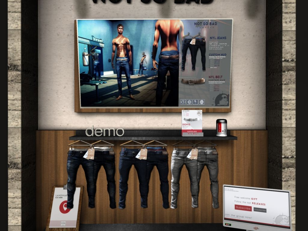 NOT SO BAD - jeans/fatpack, 249L each/900LItem 32 of 46 NYL Jeans includes a texture changing HUD for belt, mesh body compatible, 3 options available, 329L each/900L fatpack.  New Year, New Look at The Mens Dept! | Seraphim.