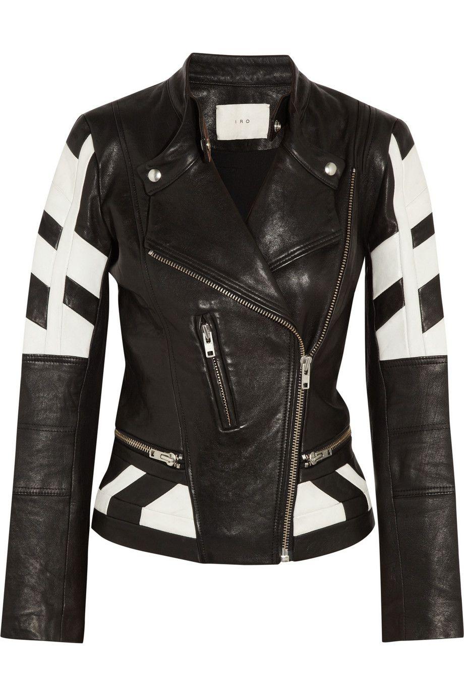 Black Hyde Paneled Leather Biker Jacket Iro Leather Jackets Women Black Leather Biker Jacket Leather Jacket [ 1380 x 920 Pixel ]