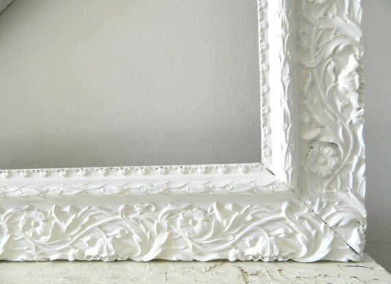 Vintage White Frame Wood Ornate Shabby Chic Large   Shabby, Woods ...