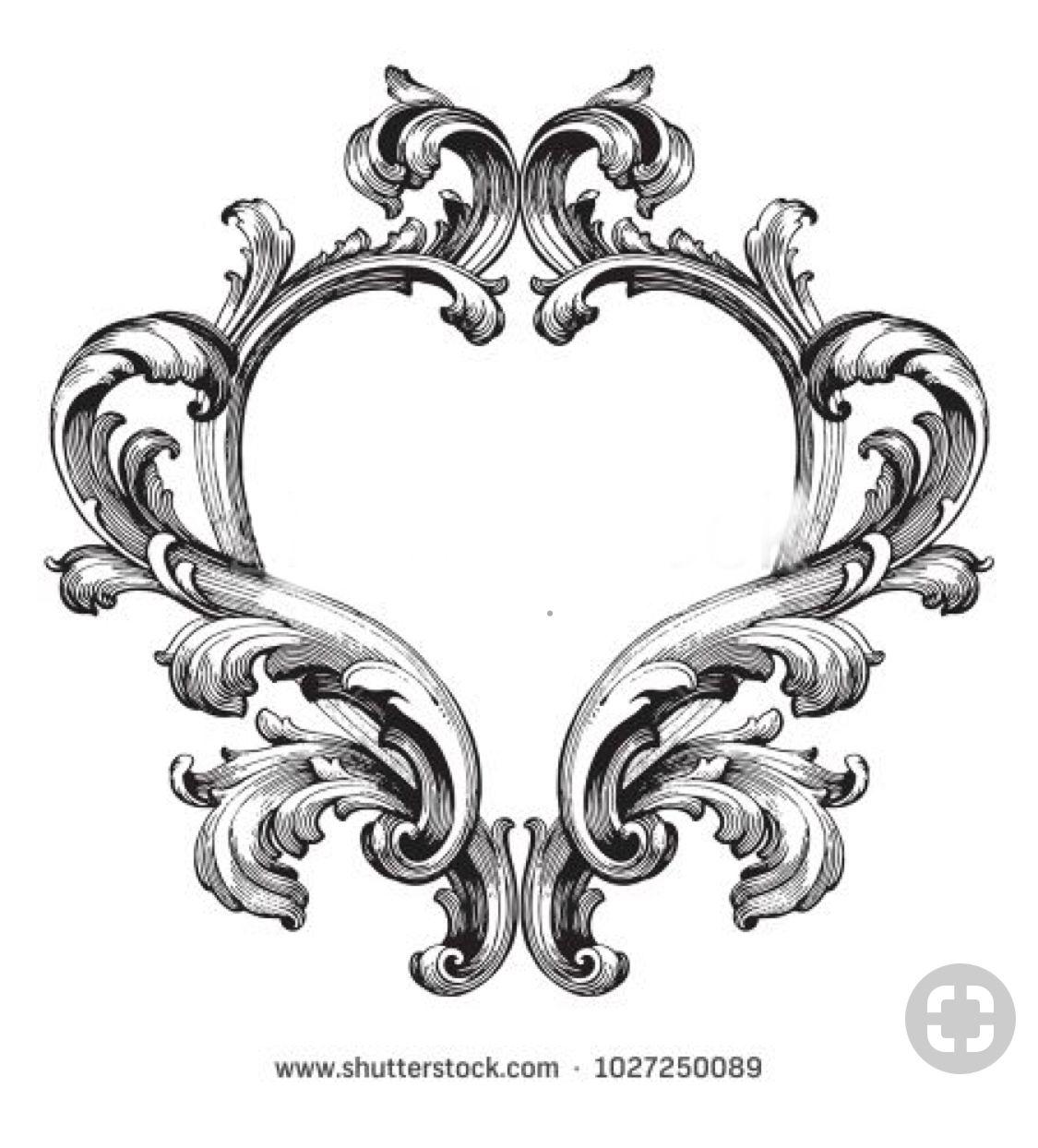 Pin By Joshua Moran On Baroque Floral Scrolls Filigree Tattoo Ornament Drawing Framed Tattoo
