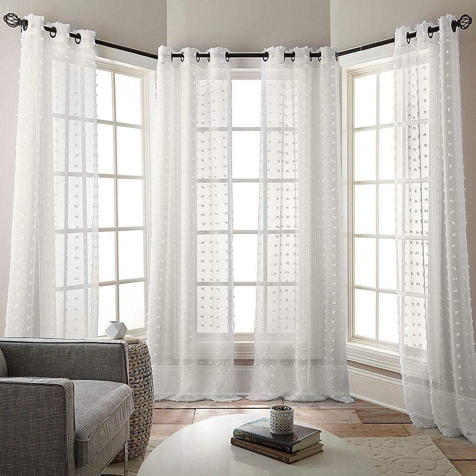 Olly 84 Grommet Sheer Window Curtain Panels In White Set Of 4